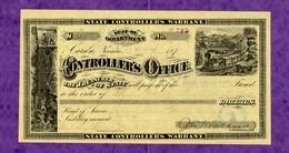 USA Check Nevada State Controller's Warrant CARSON 1881 - Unclassified
