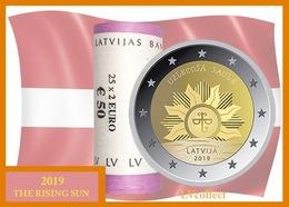 "Latvia 2019 NEW!!! 2 Euro ROLLE ( 25*2 EURO ) "" THE RISING SUN "" - Lettonie"