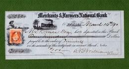 USA Check Merchants & Farmers National Bank ITHACA, New York 1870 VERY RARE ! - Non Classificati