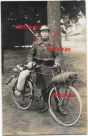 Orgineel Photo Belgian Soldier Cyclist Helmet Full Uniform Velo Rifle With Id Masure Raymond Grenswielrijders Frontalier - 1914-18