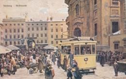 AK - Salzburg - Kunstkarte Signiert - Strassenbahn Am Grünmarkt - 1927 - Salzburg Stadt