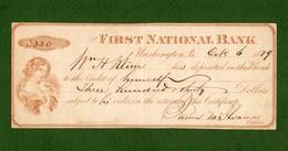 USA Check First National Bank Of Washington PA 1879 - Non Classificati