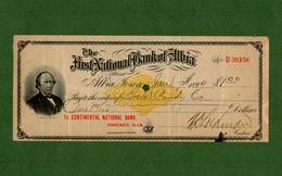 USA Check First National Bank Of Albia Iowa 1899 Print A. Drake Bank's President - Non Classificati