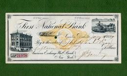 USA Check First National Bank Canton Dakota Territory 1887 - Non Classificati