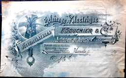 13 MARSEILLE ECLAIRAGE ELECTRIQUE SOUCHIER ACCUMULATEURS  EN TETE DE FACTURE ART NOUVEAU  22 X 15 CM VERS 1890 - Altri