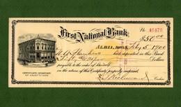 USA Certificate Of Deposit First National Bank Albia Iowa 1900 - Non Classificati