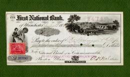 USA Check First National Bank 1896 Manchester, NH - Non Classificati