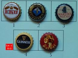 Lot N° 01-2 : 5 Capsules De Bière (parfait état - Pas De Trace De Décapsuleur) - Bier