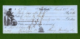 USA DRAFT Against Schrack & Co Philadelphia NAUTICAL New York 1858 - Non Classificati