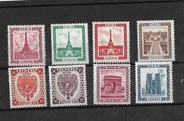 LOT 8 VIGNETTES PARIS - NOTRE DAME , TOUR EIFFEL Vert Orange Rouge , ARC TRIOMPHE  , PALAIS CHAILLOT BLASON Orange Brun - Commemorative Labels