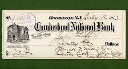 USA Check Cumberland National Bank BRIDGETON New Jersey 1913 - Unclassified