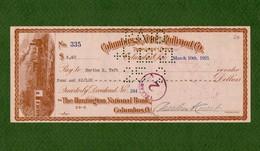 USA Check COLUMBUS & XENIA RAILROAD 1921 Columbus, Ohio - Unclassified