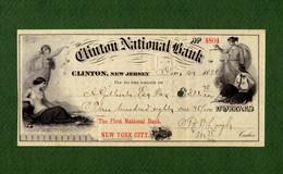 USA Check Clinton National Bank New Jersey 1888 - Non Classificati