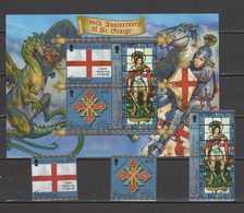 Gibraltar 2003 Michel 1042-1044, Bl. 55 1700th Anniv. Of St. George Set Of 3 + S/s MNH - Gibraltar