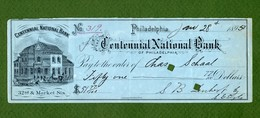 USA Check Centennial National Bank Of Philadelphia PA 1897 - Unclassified