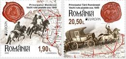 ROMANIA, 2020, MNH,EUROPA, TRANSPORT ROUTES, HORSES, COACHES, MAPS, 2v - Europa-CEPT