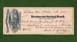 USA Check Boatmen's Saving Bank St. Louis, IL 1888 STEAMBOAT Very Rare ! - Non Classificati