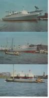 495  Lot De 3 CARTES BATEAUX    3 Bateaux Citerne ( Aristote Onassis)  Le Port De Rotterdam, Le Vapeur Rotterdam 38000 T - Otros