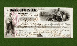 USA Check Bank Of Ulster Saugerties New York 1863 CIVIL WAR ERA - Non Classificati