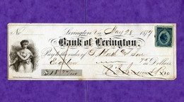 USA Check Bank Of Lewxington 28 May 1877 Virginia - Unclassified