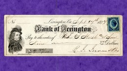 USA Check Bank Of Lewxington 9 Sept 1877 Virginia - Unclassified