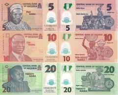 NIGERIA Set 3v 5 10 20 Naira 2019 P 34 38 39 UNC - Nigeria