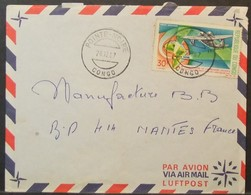 Congo - Cover To France 1967 Aviation Map 30F Solo - FDC