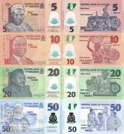 NIGERIA Set 4v 5 10 20 50 Naira 2011 - 2019 P 34 38 39 40 UNC - Nigeria