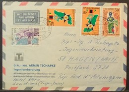 Congo - Cover To Germany 1967 Medal Map Doll Costumes - FDC