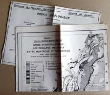 1 Carte Hydrogéologique Entre Montreux Et Teysachaux + 1 Profil Géologique Jaman - Dt De Hautaudon - Other
