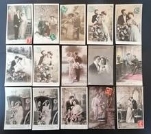 Lot De 43 Cpa. Fantaisies. Couples. - Postcards