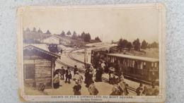 CHEMIN DE FER A CREMAILLERE DU MONT REVARD LA GARE TERMINUS  PHOTO DESGRANGES AIX LES BAINS SUR CARTON 16 X 10.50 CM - Trains