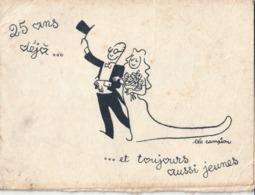 """Faire Part """"noces D'Argent """" De Monsieur Et Madame RENE-PAUL - Illustrateur Léo CAMPION - Mariage"""