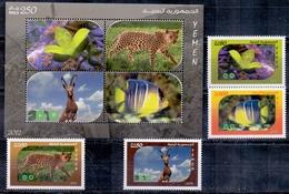 2013 Republic Of Yemen The Animals Complete Set 4 Stamps + Souvenir Sheets MNH - Jemen