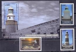 2013 Republic Of Yemen Lighthouses Complete Set 3 Stamps + Souvenir Sheets MNH - Jemen