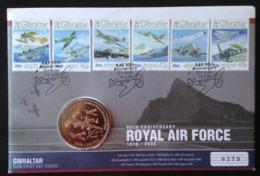 Gibraltar, « ROYAL AIR FORCE », Coin Cover One Crown Mounted GIBRALTAR FDC, 2008 - Gibraltar
