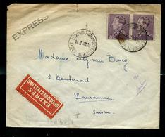 Doc. De BRUXELLES (MIDI) - BRUSSEL (ZUID) - H - Du 16/03/43 + Censure  Et Vignette Sanatorium  Pour Lausanne - Weltkrieg 1939-45