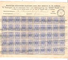 REF1255/ TP 27 (50) Bulletijn Alleenlijk Bestemd Voor Het Sparen In De School C.Gavere 10/1/1884 Oblitération Roulette - 1866-1867 Petit Lion (Kleiner Löwe)
