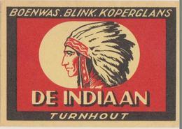 Etiquette Peu Courante Allumettes Safety Matches De Indiaan Turnhout - Boites D'allumettes - Etiquettes