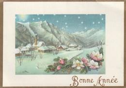 939 - MIGNONETTE BONNE ANNEE .FLEURS MAISONS MONTAGNES BRANCHES ET POMMES DE PIN ETOILES PAYSAGE ENNEIGE - Neujahr