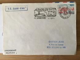 Premier Jour Flamme Campagne 1991/92 Départ Brest Porte Hélicoptères Jeanne D'Arc - Naval Post