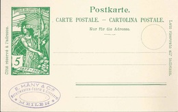 """PK 31 UPU  """"Häny, Metallwaren/Giesserei, Meilen""""                1900 - Entiers Postaux"""