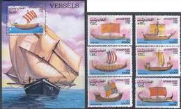 Afghanistan 1999 Ships Set+perf. Sheet Mi.1930-1935+B117 MNH M.032 - Afghanistan