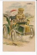 Carte Fantaisie Humoristique De CHAT Humanisé Habillé Conduisant Une Auto Tacot - Gekleidete Tiere
