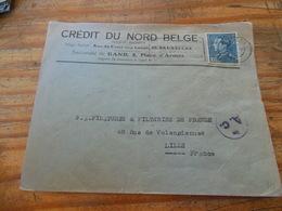 CREDIT DU NORD BELGE GAND AVEC PUB AU VERSO POUR LILLE 1941 CENSURE - Weltkrieg 1939-45