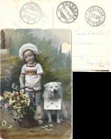 """Feldpost AK  """"Mädchen Mit Hund""""  (Schnapsdatum 10.X.10)          1910 - Switzerland"""