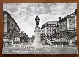 ROMA Monumento Bersagliere Via Nomentana Auto Bus Cars - Insegna Pubblicità Pirelli  Cartolina  Viaggiata - Places & Squares