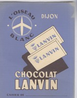 Protège Cahier Chocolat Lanvin Dijon- L'oiseau Blanc - Très Bon état - Cacao