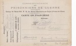 Carte De Franchise Militaire Camp De Sous Officiers Prisonniers De Guerre De Saint Germain En Laye Rare - Marcophilie (Lettres)