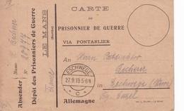Carte De Franchise Militaire Dépôt Prisonniers De Guerre De  Le Mans Sarthe - Marcophilie (Lettres)